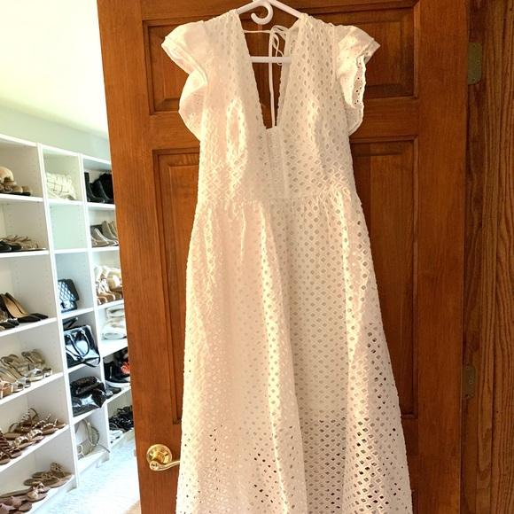 Vici Hart Cotton Pocketed Eyelet MIDI Dress